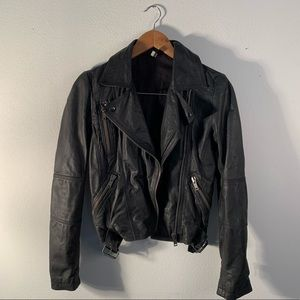 Topshop | Black Leather Zippered Jacket